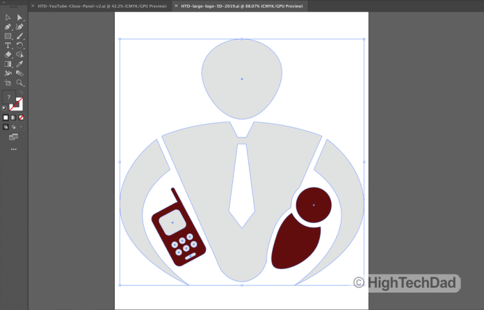 HighTechDad logo in Adobe Illustrator (part of Adobe Creative Cloud)