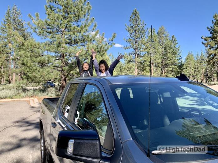 HighTechDad Review 2019 Chevy Silverado - daughters in the truck bed