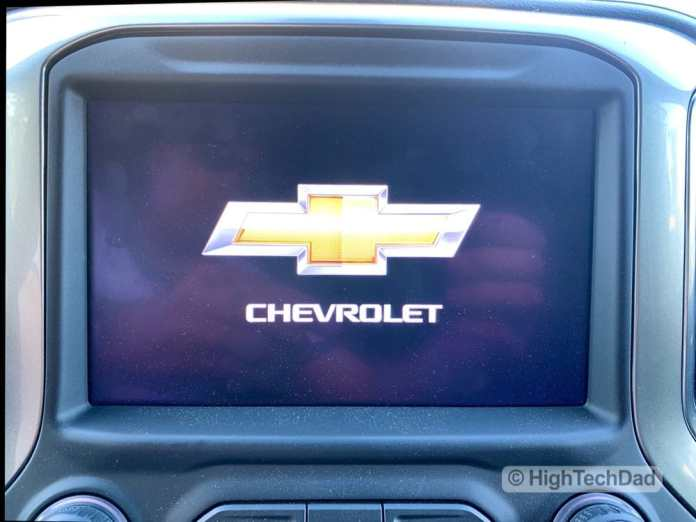 HighTechDad Review 2019 Chevy Silverado - Chevy logo on screen