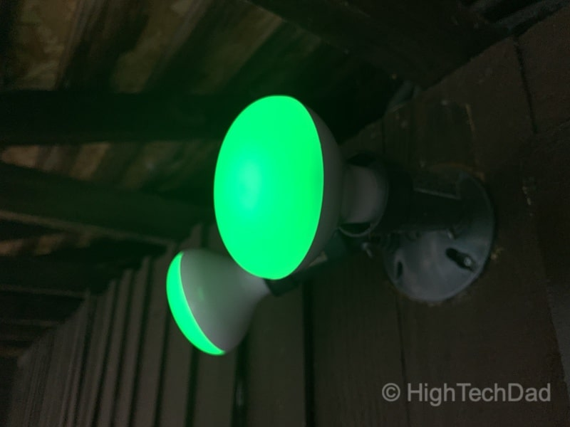HighTechDad reviews Feit smart, WiFi floodlight bulbs - green lights