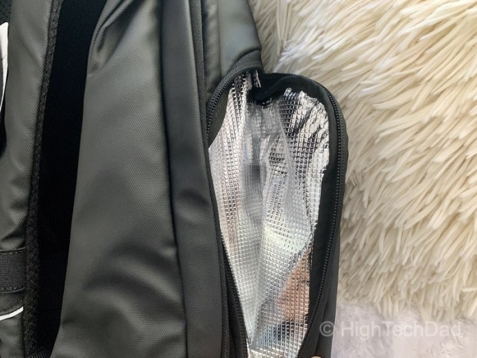 HighTechDad Reviews Nayo Almighty backpack - insulated pocket