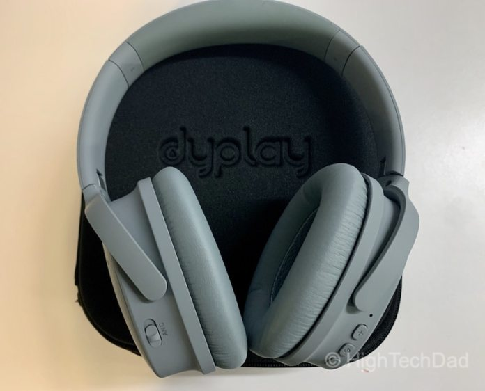 HighTechDad review: dyplay Urban Traveler Bluetooth headphones - headphones on case