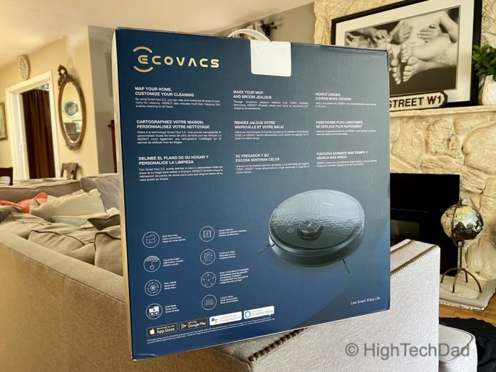 HighTechDad review: Ecovacs Ozmo Deebot T5 - back of the box