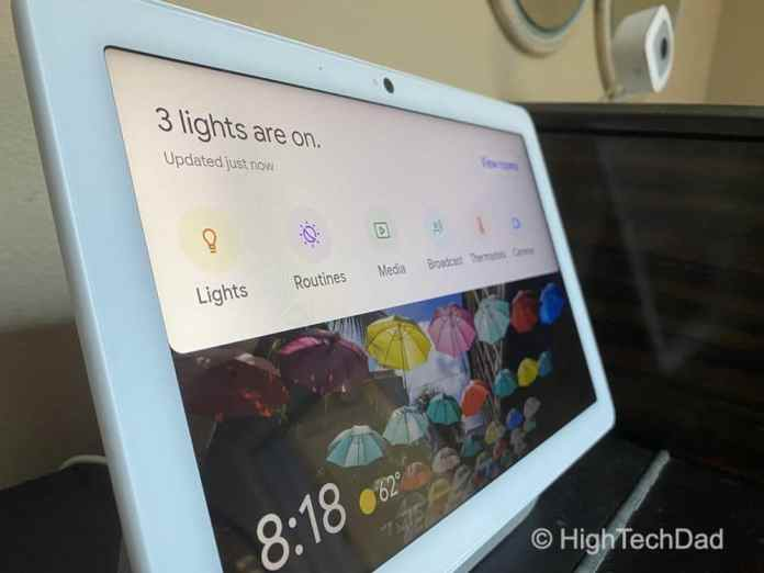 HighTechDad Nest Hub Max review - swipe down for smart home controls