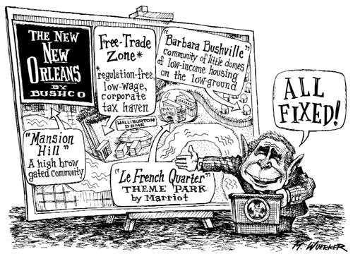 George W. Bush and post Katrina New Orleans, cartoon