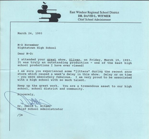 Oliver Superintendent Letter