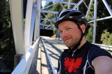 On the bridge over the South Fork of the Eel River after descending down from Leggett