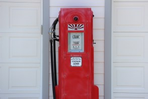 Old school gas pump in someones driveway in Ferndale.