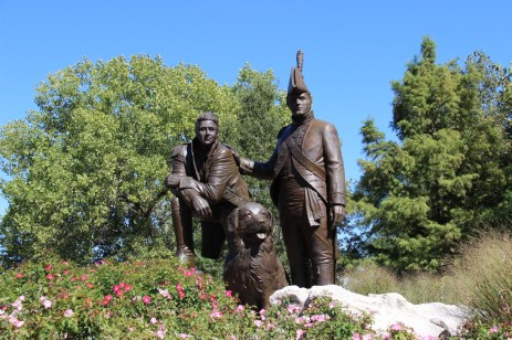 15-foot bronze monument of Lewis and Clark and Clark's Newfoundland dog, Seaman in St. Charles, MO