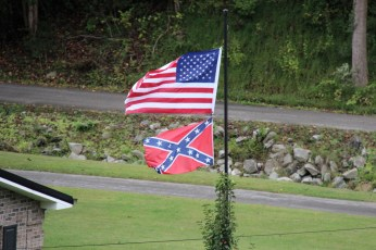 The confederate flag still flown proudly in this part of the US