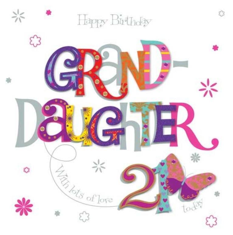 8x8 Large Granddaughter 21st Birthday Card Pink Luxury Handmade Card Highworth Emporium