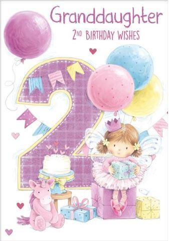 granddaughter 2nd birthday party card