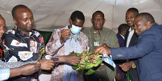 Agriculture CS Peter Munya (third left) and EALA MP Mpuru Aburi (fourth left) share miraa with other leaders in Maili Tatu Stadium in Meru County on September 27, 2020. Charles Wanyoro | Nation Media Group