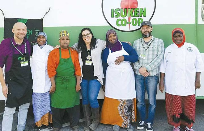 The Isuken Cooperative's Somali Bantu farm-to-table food truck crew on a visit to Belfast in 2018