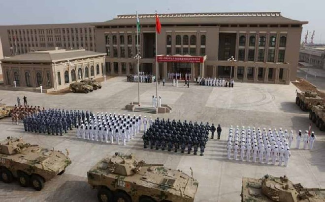 Chinese People's Liberation Army personnel attending the opening ceremony of China's military base in Djibouti. [AFP]