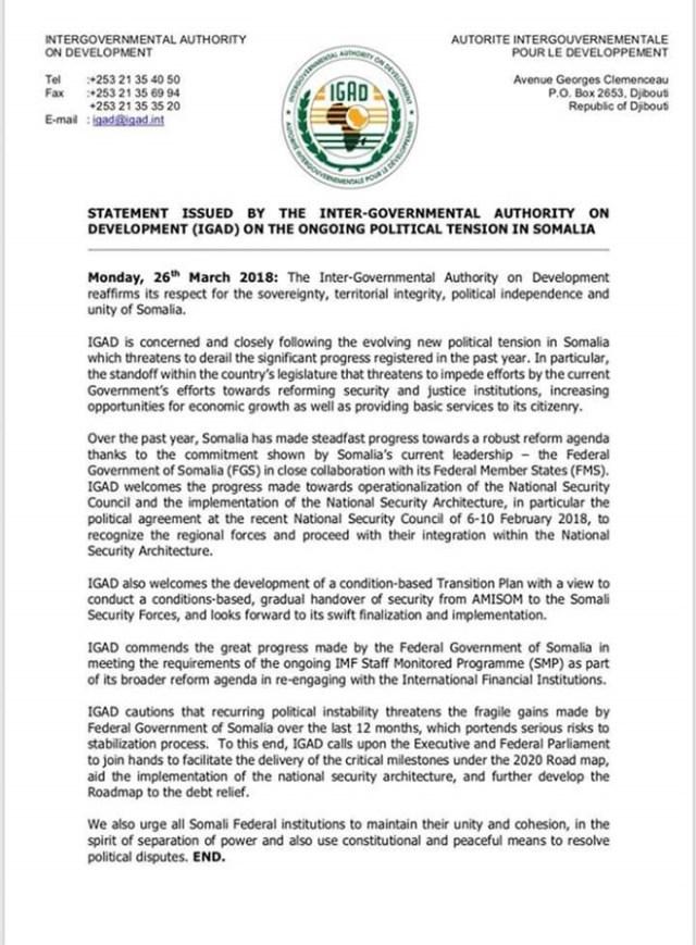 Urur IGAD Oo Ka Walaacsan Xiisadda Somalia