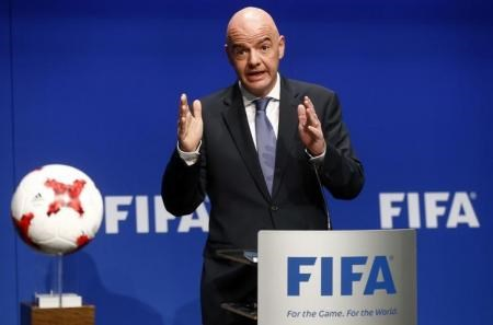 FIFA President Gianni Infantino addresses a news conference after a FIFA Council in Zurich, Switzerland, January 10, 2017.