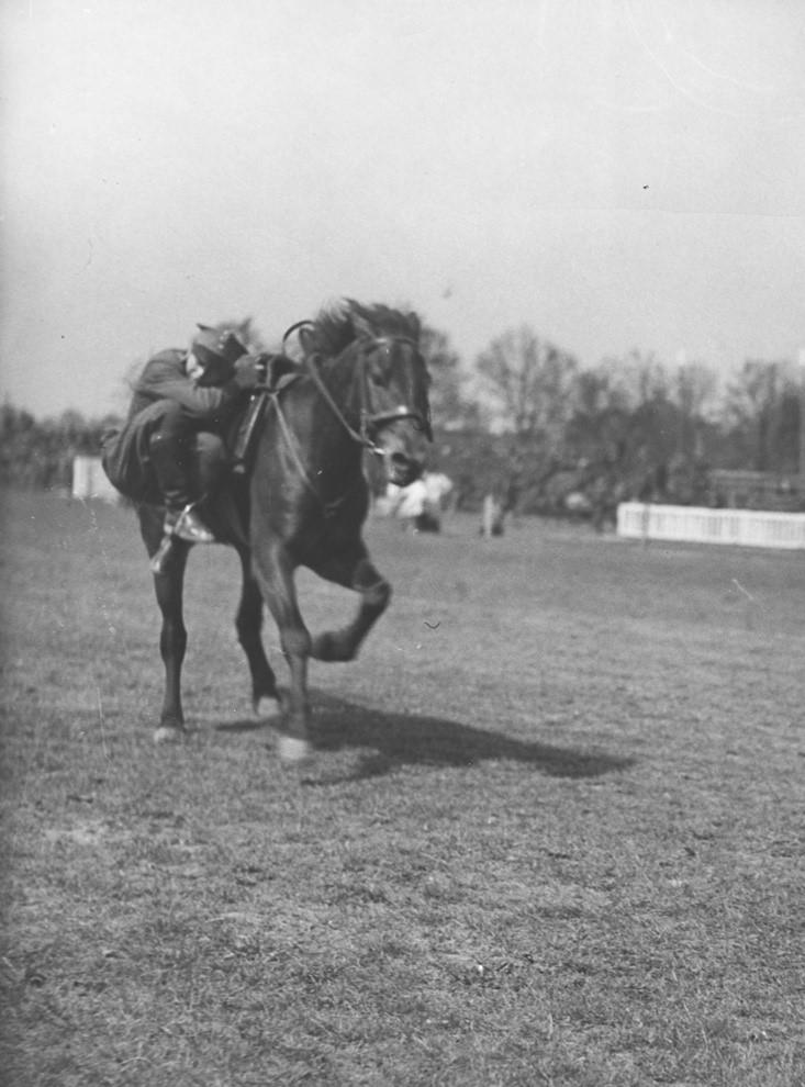 Pokazy sprawnościowe kawalerii podczas rewii wojskowej na Polu Mokotowskim - krycie się za koniem w galopie