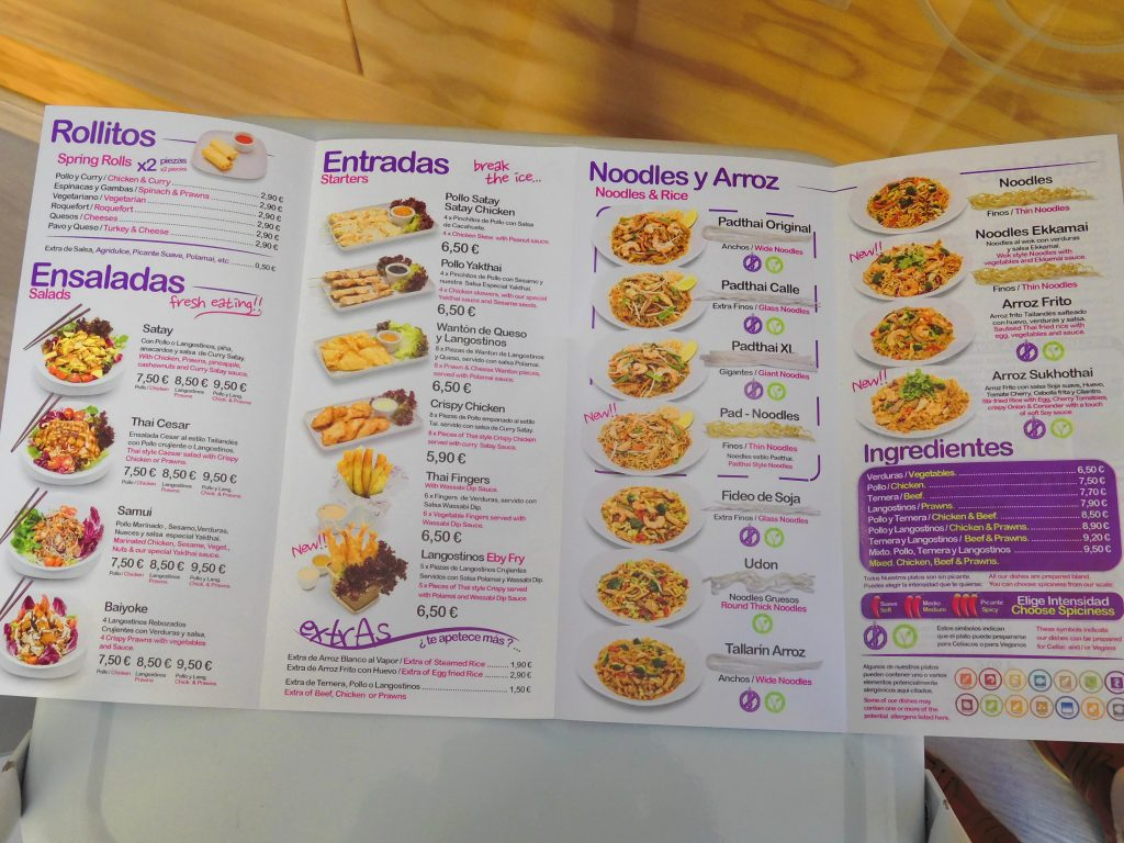 Pad thai wok menu