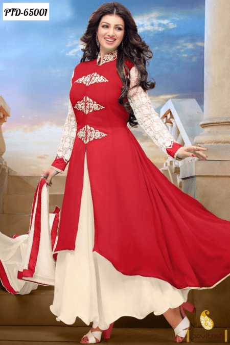 Stylish Anarkali Umbrella Frocks Designs Red Color Suits Collection 2017-2018