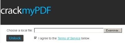CrackMyPDF Eliminar restricciones y contraseñas a un archivo PDF online