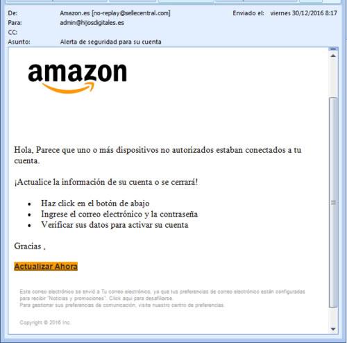 Campaña masiva de correos electrónicos para robar las cuentas de Amazon