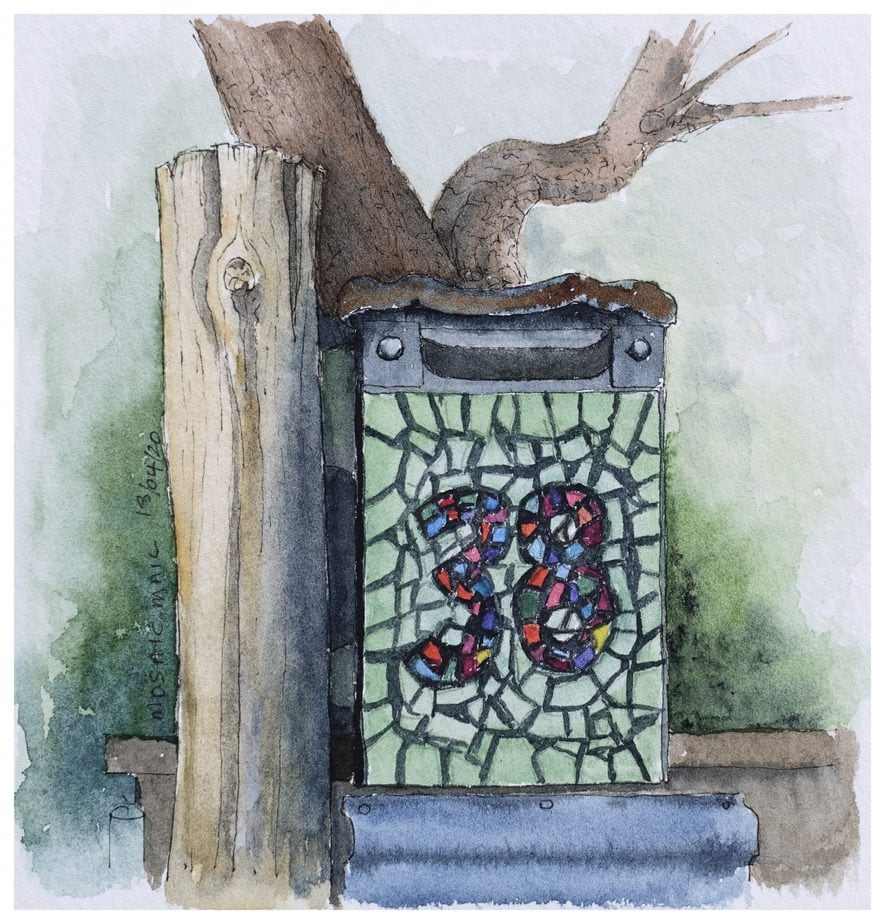 Mosaic covered mailbox. Watercolour sketch