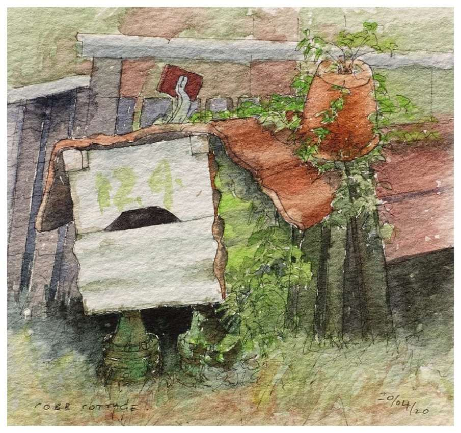 Old mailbox made from scrap metals. Watercolour sketch