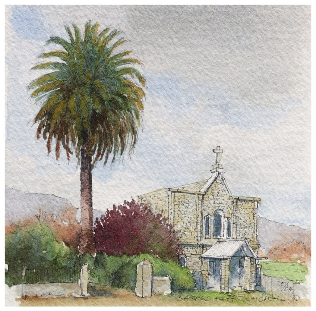 Church of the Sacred Heart, Takaka. Watercolour sketch