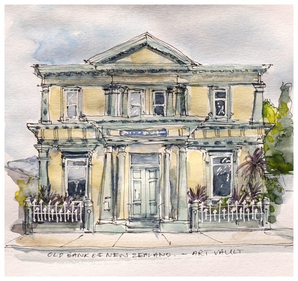 'Art Vault' Old Bank of New Zealand, Takaka. Watercolour sketch