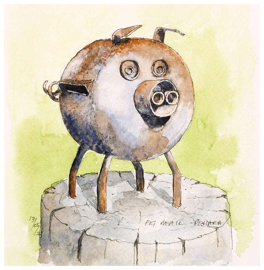 Pig mailbox made from gas cylinder. Watercolour sketch