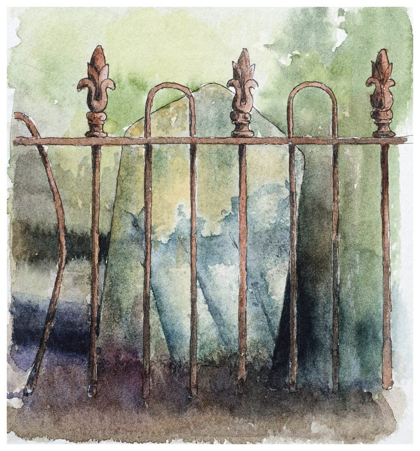 Graveyard headstone with iron railings. Watercolour sketch