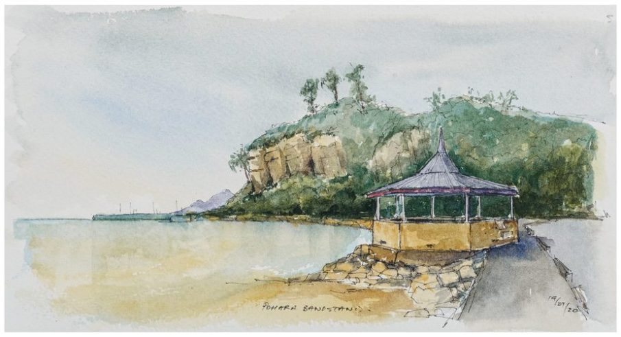 Pohara Bandstand, watercolour sketch