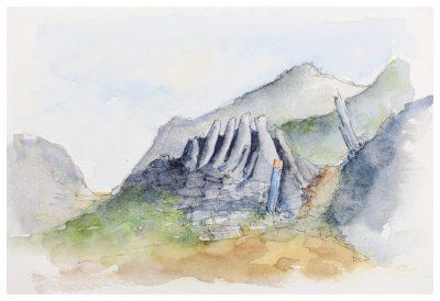 Takaka Hill, kast rock formations. Watercolour sketch