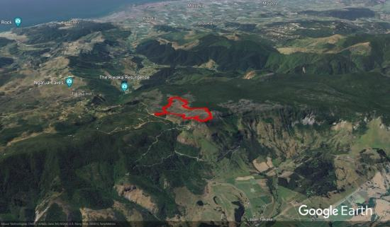 Takaka Hill Walkway - Google Earth screenshot
