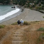 Taking the stairs up from Muir Beach to the Coastal Trail
