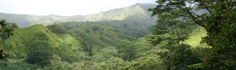 View from the picnic area of the Makaleha Mountain Range.