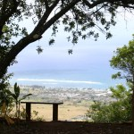 A bench at the picnic area near the top of Sleeping Giant offers gorgeous views of Kauai's eastern shore.