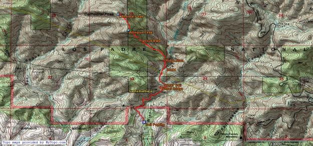 Cathedral Peak Topo Map