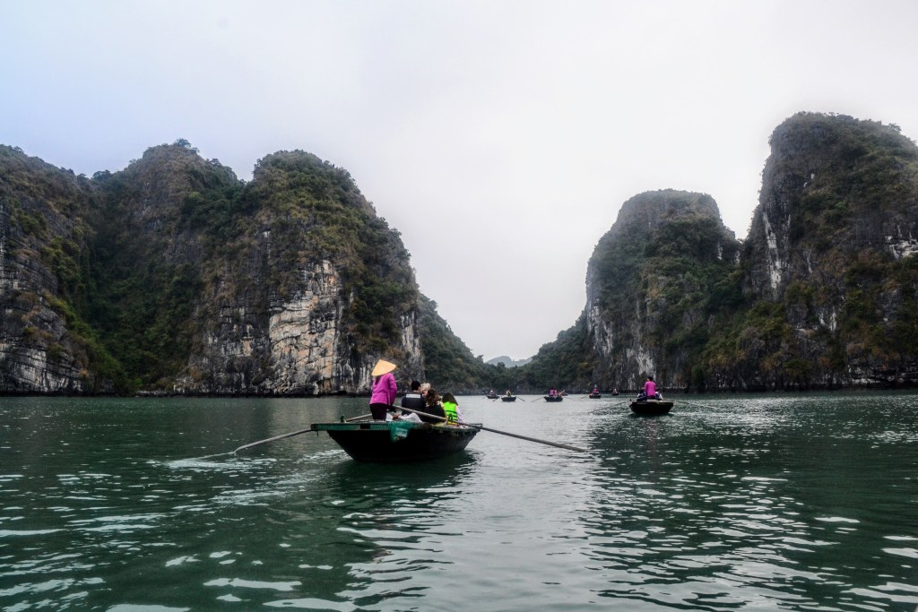 the best bai tu long bay cruise includes paddling in traditional boats