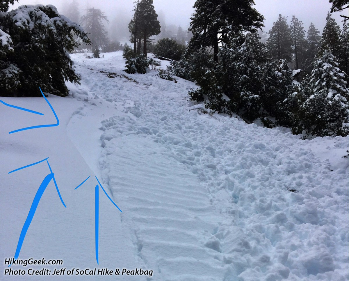 Trail & Snow Conditions: Avalanche Danger in Icehouse Canyon (Mt. Baldy Area), February 19, 2017