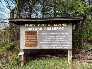 Trailhead Sign for Piney Creek Ravine