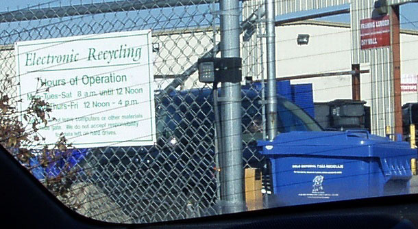 Lexington Electronics Recycling sign