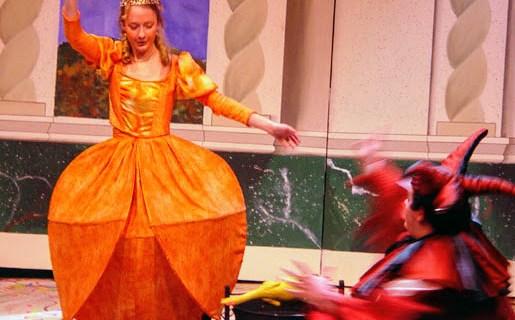 Transforming princess to orange dress for The Love of Three Oranges
