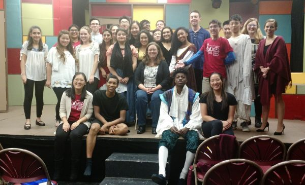 Photo of Hillary DePiano meeting the cast and crew of a production of The Tale of Tales at Rutgers Prep