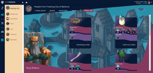 Screenshot of the Town in 4TheWords