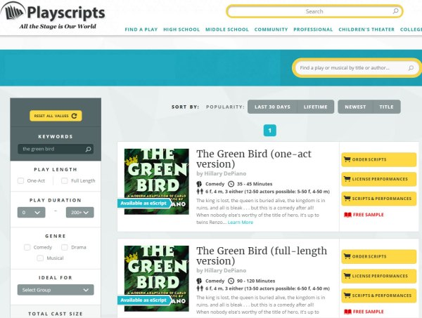 The Green Bird Playscripts
