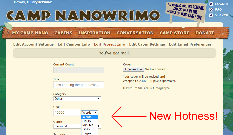 New customizations make Camp NaNoWriMo the most flexible month long writing challenge ever!