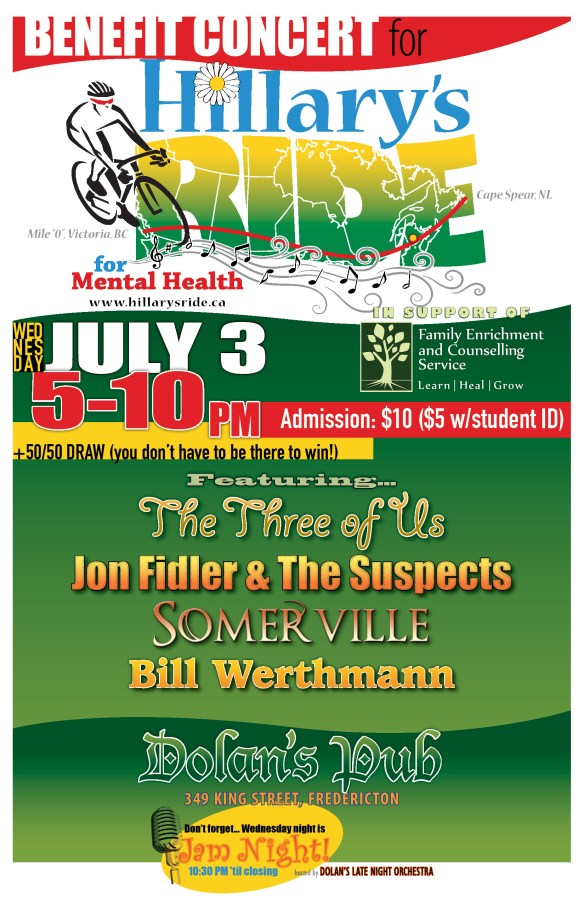 Details on the Fredericton concert on Wednesday July 3, 2013