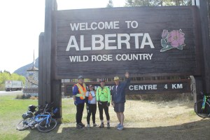The Riders roll into AlbertaBill Werthmann, Sue Sohnle, Terry Fannon and support driver, Al Carlson.